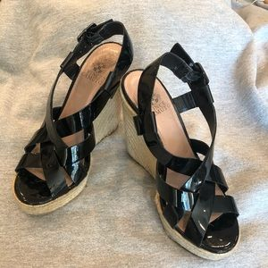 Vince Camuto Black Patent Wedges